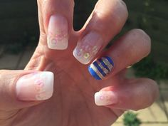 Gel manicure tips, Polish and gold tape