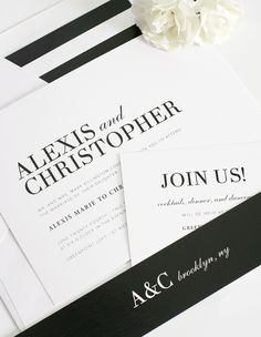 These stylish wedding invitations were inspired by high fashion magazine copy. Bold names make a statement on this simple yet glamorous design. Shown in black i Museum Wedding, Modern Wedding Invitations, Envelope Liners, Paper Goods, Carrie, Save The Date, Signage, Invite, Albums