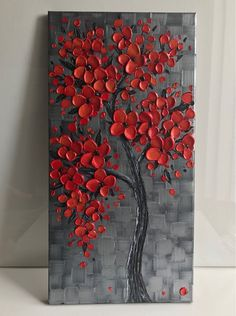Abstract Tree Painting, Abstract Art, Red Cherry Blossom, Modern Wall Decor, Texture Painting, Acrylic Art, Red Flowers, Canvas Wall Art, Original Paintings