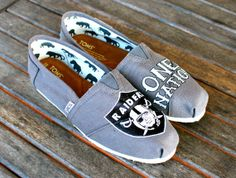 Oakland Raiders One Nation TOMS shoes by BStreetShoes on Etsy, $149.00--not a Raiders fan but these are fly!!