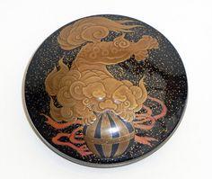"""Fine, signed lacquer """"kogo"""" with playful Shishi, Meiji."""