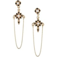 BCBGeneration Keys to My Heart Crystal Cross Dangle & Drop Earrings... (€18) ❤ liked on Polyvore featuring jewelry, earrings, gold, drop earrings, heart drop earrings, crystal heart earrings, post drop earrings and chain drop earrings