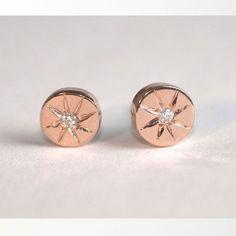 J. Lingnau Catbird Arielle Rose Gold Diamond Studs
