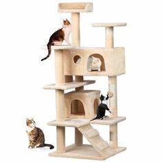 Cat Tree Furniture Kitten House Play Tower Scratcher Post Bed Pet in Pet Supplies, Cat Supplies, Furniture & Scratchers Tree Furniture, Condo Furniture, Cat Tree Condo, Cat Condo, Wood Dog House, Furniture Scratches, Cat Activity, Cat Scratching Post, Cat Scratcher