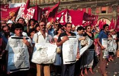 Protest Manifestation in Piazza Maggiore in Bologna, during the funeral of the victims.