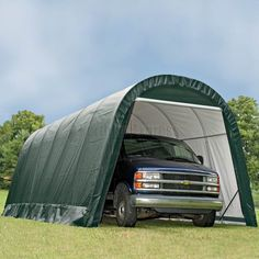 ShelterLogic 13u0027 X 24u0027 X 10u0027 RoundTop Hunter Green Garage   74342