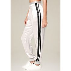 Bebe Women's Metallic Parachute Pants ($71) ❤ liked on Polyvore featuring pants, silver, metallic pants, petite white trousers, striped pants, metallic trousers and zipper pants