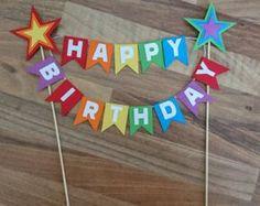 Rainbow Cake Topper, Rainbow Star cake Bunting, Rainbow Happy birthday, First birthday, Flag bunting Birthday Flags, Happy Birthday Banners, Diy Birthday, Birthday Decorations, Birthday Gifts, Cake Birthday, Cake Bunting, Cake Banner, Rainbow First Birthday