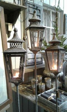 Outside Lanterns Give A Warm Glow On A Cold Evening.......