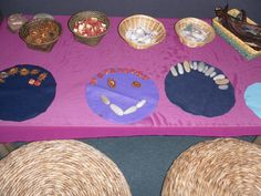 "Natural materials - flower heads, stones, shells & gum nut pieces ("",)"