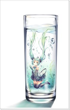 """Illustration of """"TID"""" / """"in the glass ... 2013.04.09"""" [pixiv]"""