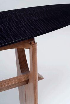 cormorant hall/entry table detail - black walnut, ebonized tiger maple, blackwood - Eben Blaney Furniture