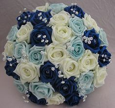 ARTIFICIAL FLOWERS ROYAL BLUE/IVORY/LIGHT BLUE FOAM ROSE BRIDES WEDDING BOUQUET | eBay
