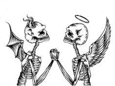 evil vs good Art Print by Emma Romby - X-Small Creepy Tattoos, Dope Tattoos, Mini Tattoos, Body Art Tattoos, Small Tattoos, Tribal Arm Tattoos, Tatoos, Dark Art Drawings, Tattoo Design Drawings