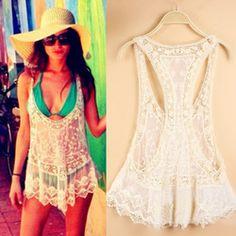 Demarkt sexy beach lace vest swimwear swimsuit cover up shirt dress