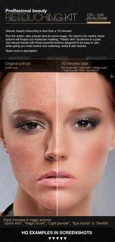 Save hours! This set of 5 actions will help you speed up most common retouching tasks, while avoiding plastic look and preserving skin-texture details. Easy to use actions that can deal with even very bad skin with natural result. Actions you will, actually use!