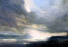 Zarina Stewart-Clark is a landscape artist who paints using egg tempera on traditional gesso ground. She is concerned primarily with the fall of light and darkness in landscape, the evocation of place, and the spirituality of our landscape. Sky Painting, Abstract Landscape Painting, Landscape Art, Landscape Paintings, Monochrom, Art Graphique, Sky And Clouds, Tempera, Nature Paintings