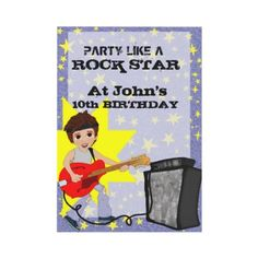 #Party Like a #RockStar!  Party like a rock star birthday party #invitation for boys can be personalized for free! Just fill in the spaces to the right and then hit enter to change the text on the card ( you should see your changed text show up on the card!) This rockstar party invitation would be even better if you make up VIP passes and stick one with each invitation, Boys Birthday Party, Boys Music Party, Guitar Hero Party, Rock Star Party Kids Invitations  $1.70 per invite