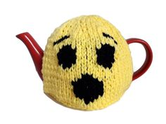 Emoji Tea Cosy, Tea Lover Gift Fun Yellow Teapot Warmer Novelty Kitchenware by thekittensmittensuk on Etsy Knitted Tea Cosies, Knitted Hats, Wow Emoji, Yellow Teapot, Vegan Gifts, Novelty Gifts, Mother Gifts, Kitchenware, Cosy
