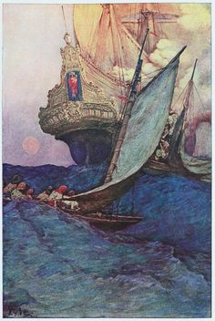 Pirates approaching ship, Howard Pyle - Il mare d'oro ep.4