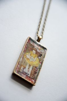 """assemblage art/ collage necklace/ Alice In Wonderland Inspired  """"Falling Down the Rabbit Hole""""  arcanememory.etsy.com"""