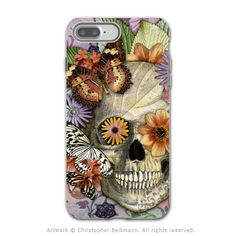 Butterfly Floral Skull - Artistic iPhone 7 PLUS - 7s PLUS Tough Case - Dual Layer Protection - Butterfly Botaniskull