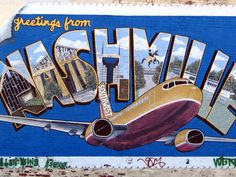 This piece of artistry -- a Nashville postcard -- includes several Music City's attractions including the Parthenon and the old Country Music Hall of Fame that are now gone. If you look closely, the mural includes a statue of the seventh US President Andrew Jackson, who owned a home in Nashville, known as The Hermitage.