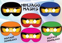 Instant download 6 Printable Ninjago masks !!   You want to make your Ninjago party special! 6 Ninjago masks to make you guests happy !   Just cut the round eyes hole , you can glue them on party glasses or make a small hole on each side of the mask and attach elastic.  You will receive: ❀ 2 zip files - 6 jpeg files, high resolution, paper size 8.5 X11   ❀ each mask is 8 inch width ❀ INSTANT DOWNLOAD (please check your spam mail)  ❀You can print at home or upload to the photo lab of your…
