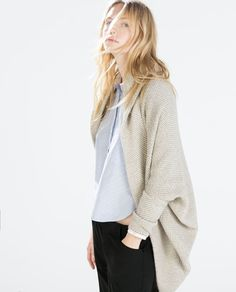 ZARA - NEW THIS WEEK - TWO-TONE WRAP JACKET WITH POCKETS AND HOOD