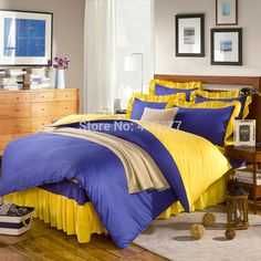 Blu giallo cotone regina re duvet/trapunta/doona copre gonna letto cuscino shams 4/5 pz comforter set di biancheria da letto tessile  (China (Mainland))