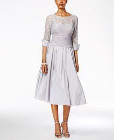 Jessica Howard Lace Three-Quarter-Sleeve A-Line Dress - Dresses - Women - Macy's