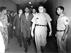 Muhammad Ali, the former Cassius Clay, was convicted by a U.S. federal court in Houston on June 20, 1967. Above, he is shown when refusing i...