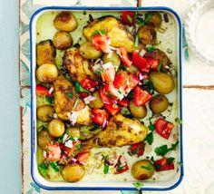 Curried chicken & new potato traybake