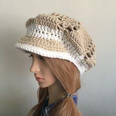 8537efa014a5f Crochet Newsboy hat.Autumn hat.Crochet hat Newsboy Slouchy cap.Knit visor  hat.Women newsboy cap.Visor hat.Cotton lace hat.knit newsboy cap
