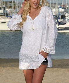 Look what I found on #zulily! White Embroidered Lace-Hem V-Neck Tunic #zulilyfinds