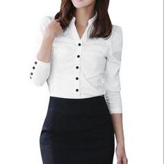 429a561a487 Unique Bargains - Women Top Ruched Button Decor Cuffs Shirt - Walmart.com. Allegra  K Women Point Collar Long Sleeve ...