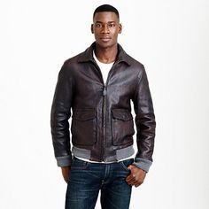 $1,095, Dark Brown Leather Bomber Jacket: J.Crew Leather Flight Jacket. Sold by J.Crew. Click for more info: https://lookastic.com/men/shop_items/326676/redirect