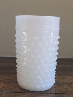 Vintage Hob Nail Milk Glass Cup / White by LeBrunDesignsInc