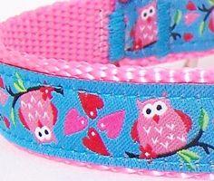 Pink Owl Dog Collar / Ribbon / Adjustable by daydogdesigns on Etsy, $16.00