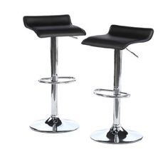 Adjustable Airlift Height Backless Bar Stools Set Kitchen Patio Furniture Dining