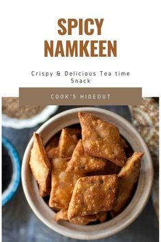 Namkeen is a crispy and crunchy tea time snack made with flour. My namak para version is made with some whole wheat flour and flavored with chaat masala. Addictive and delicious!! #cookshideout #indian #snack