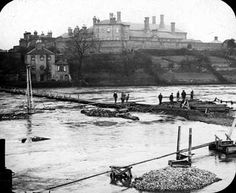 Construction of the railway bridge in 1899. Shrewsbury, Shropshire