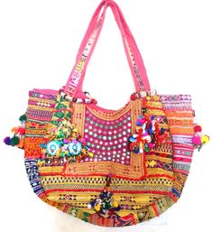 Indian Vintage Banjara Tote tribal gypsy boho mirror work bag multicolor tassels #Unbranded #Totes
