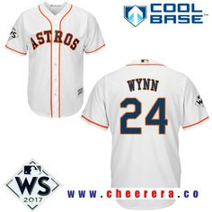 Men s Houston Astros  24 Jimmy Wynn White Home 2017 World Series Patch  Majestic Cool Base e3f853d3a
