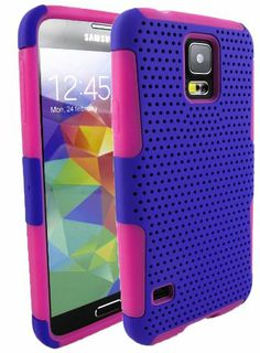 myLife (TM) Indigo and Bright Pink - Perforated Mesh Series (2 Layer Neo Hybrid) Slim Armor Case for the NEW Galaxy S5 (5G) Smartphone by Sa...