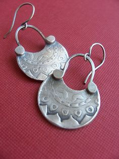 Crescent Lotus Motif Earrings