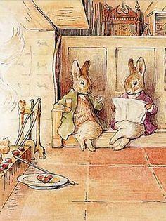benjamin bunny and peter rabbit - Beatrix Potter Beatrix Potter Illustrations, Beatrice Potter, Peter Rabbit And Friends, Bunny Drawing, Benjamin Bunny, Woodland Creatures, Children's Book Illustration, Cute Art, Cute Pictures