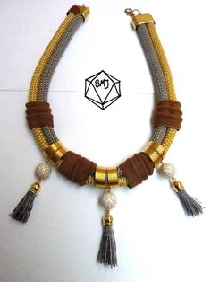 Double CORD necklace  camel suede  gray SILK por SofiMoukidouJewels