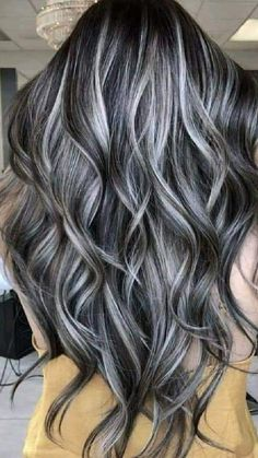 Brown Hair With Silver Highlights, Grey Brown Hair, Grey Wig, Black And Grey Hair, Platinum Highlights, Black Blonde Hair, Blonde Hair With Silver Highlights, Brown And Silver Hair, Dark Grey Hair Color