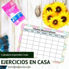 Ejercicios en casa calendario imprimible
